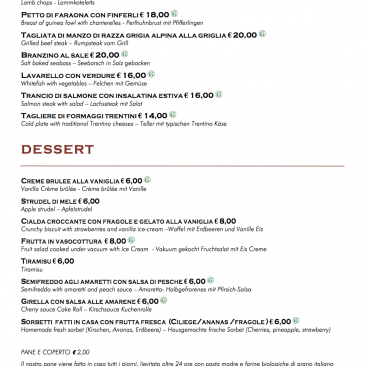 Secondi e dessert