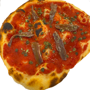 Pizza alici del Cantabrico e capperi di Lipari