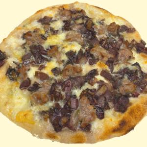 Pizza gorgonzola salsiccia e radicchio